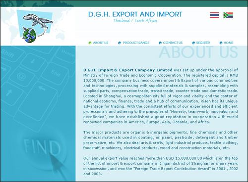 D G H  Export and Import Thailand/South Africa - Web Design